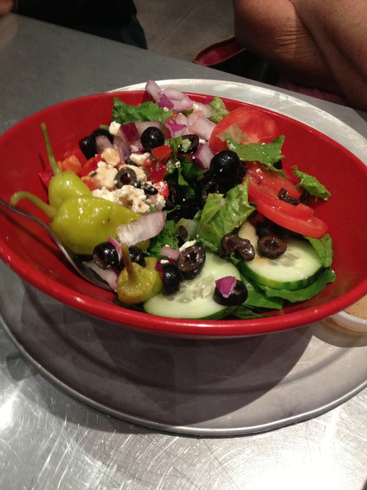 Romaine Lettuce, Roma Tomatoes, Red Onions, Cucumbers, Roasted Red Peppers, Pepperoncini, Feta, Olives, Homemade Greek Dressing